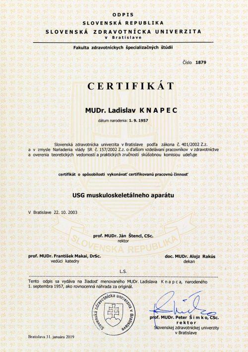 Certifikát USG